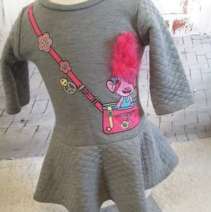 3/$30 Dreamworks Trolls grey pink dress size 2T
